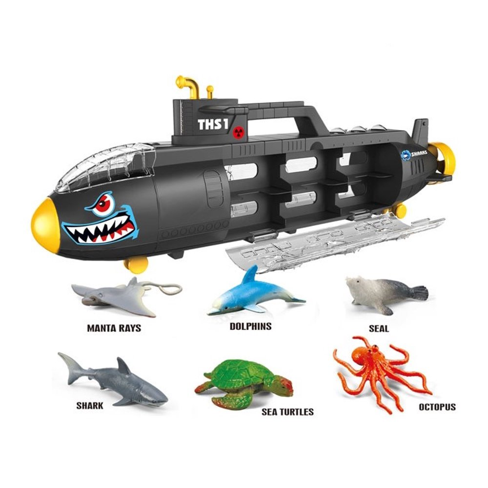 Submarine Toy Shark Car Carrier w 6 sea animals and storage