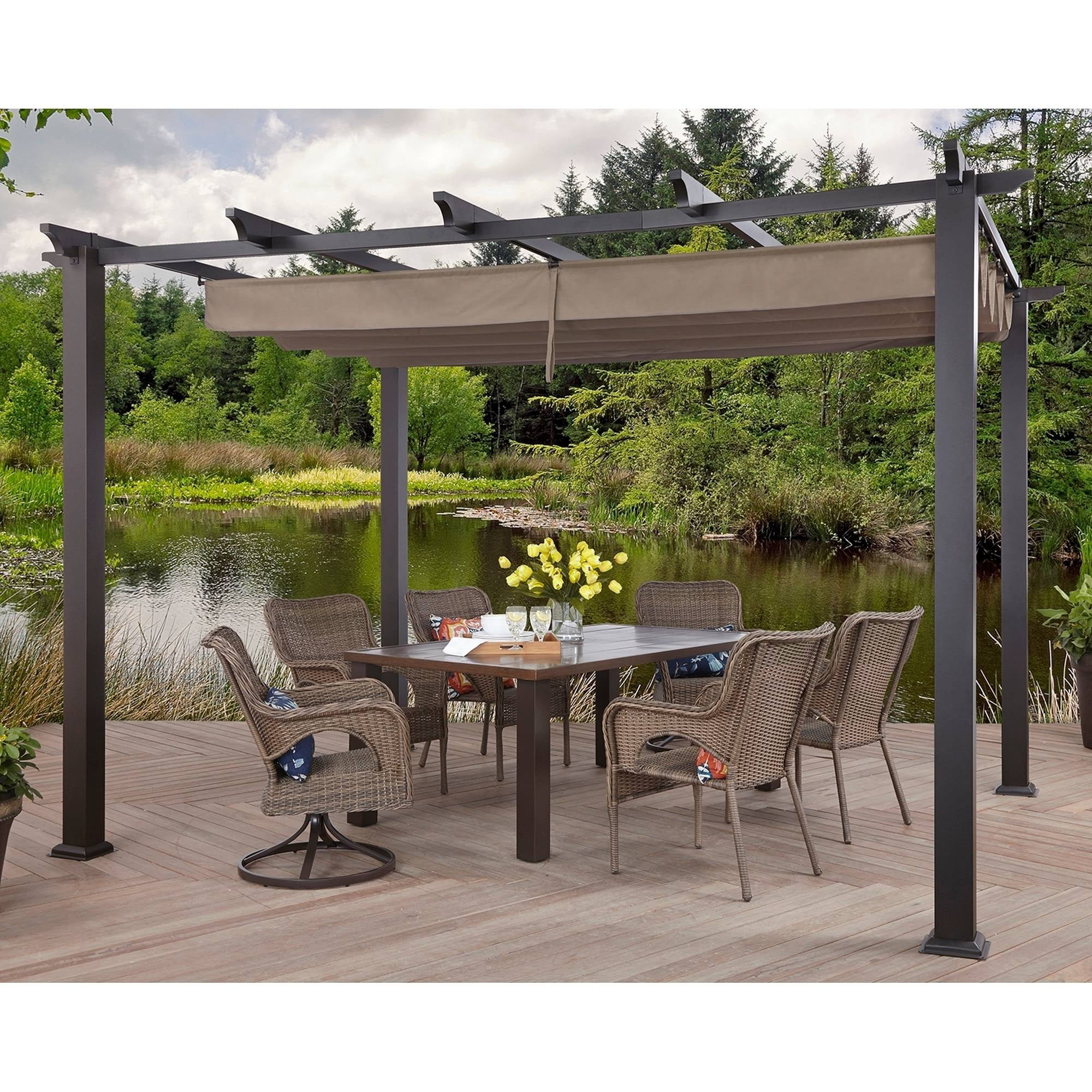 Better Homes and Gardens Meritmoor Aluminum Steel Pergola with Single-Finish, 10' x 12' (304.8 cm x 365.76 cm) by