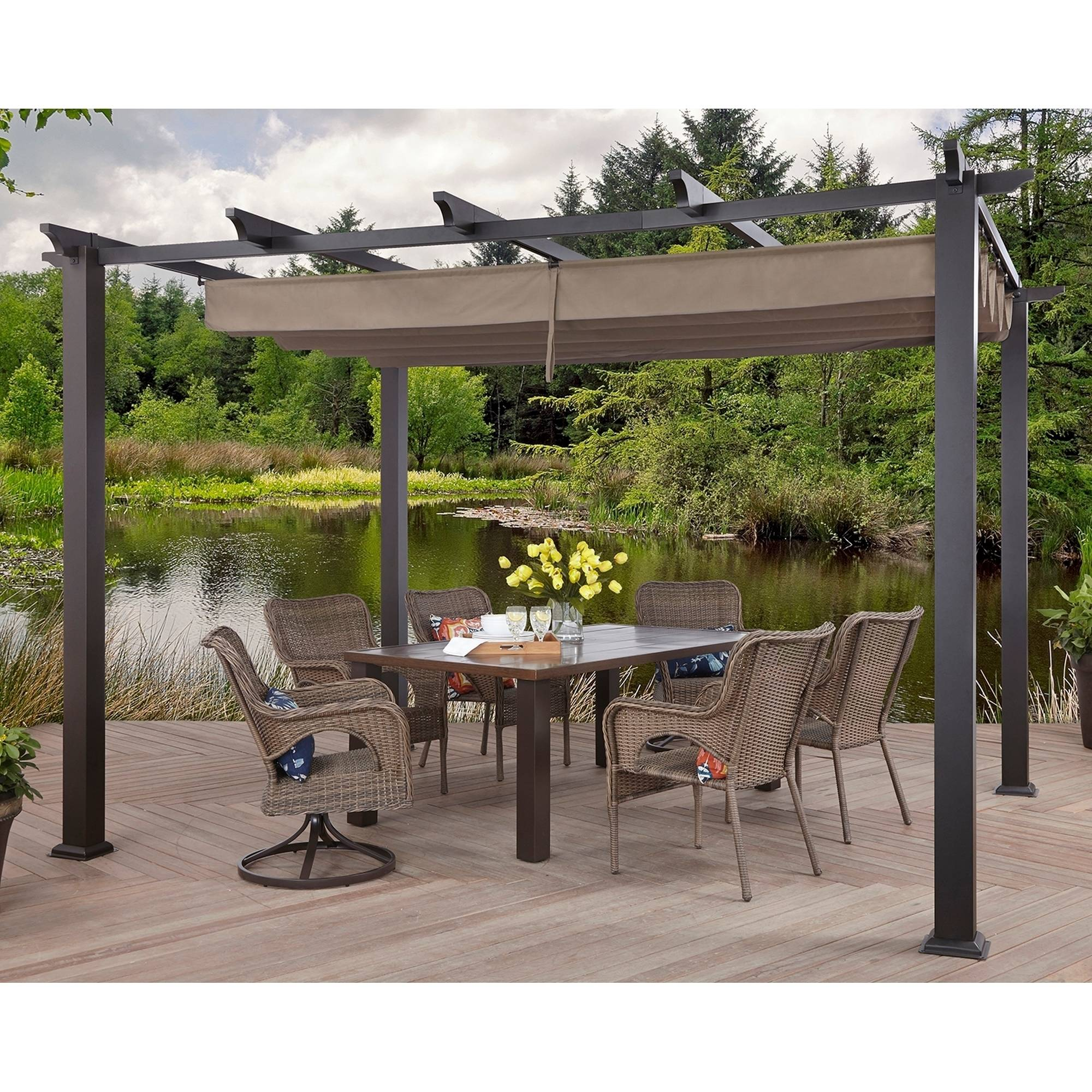 Better Homes and Gardens Meritmoor Aluminum/Steel Pergola with Single-Finish 10'x12'