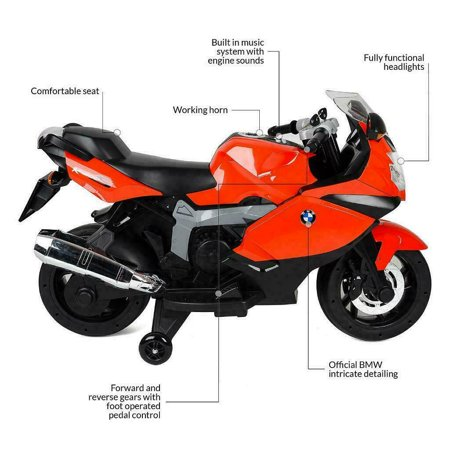 BMW Kids Ride On Electric Motorcycle K1300S RED 12V Lights &