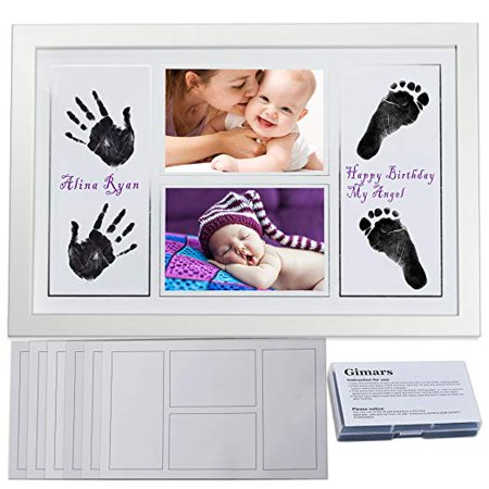 "Baby Handprint Kit Baby Photo Frame, Baby Footprint kit, DIY Large Safety Ink Pad & 4x6""Baby Handprint Footprint Photo Frame Kit with 6 Sheet Thicker Paper for Birthday Gifts"