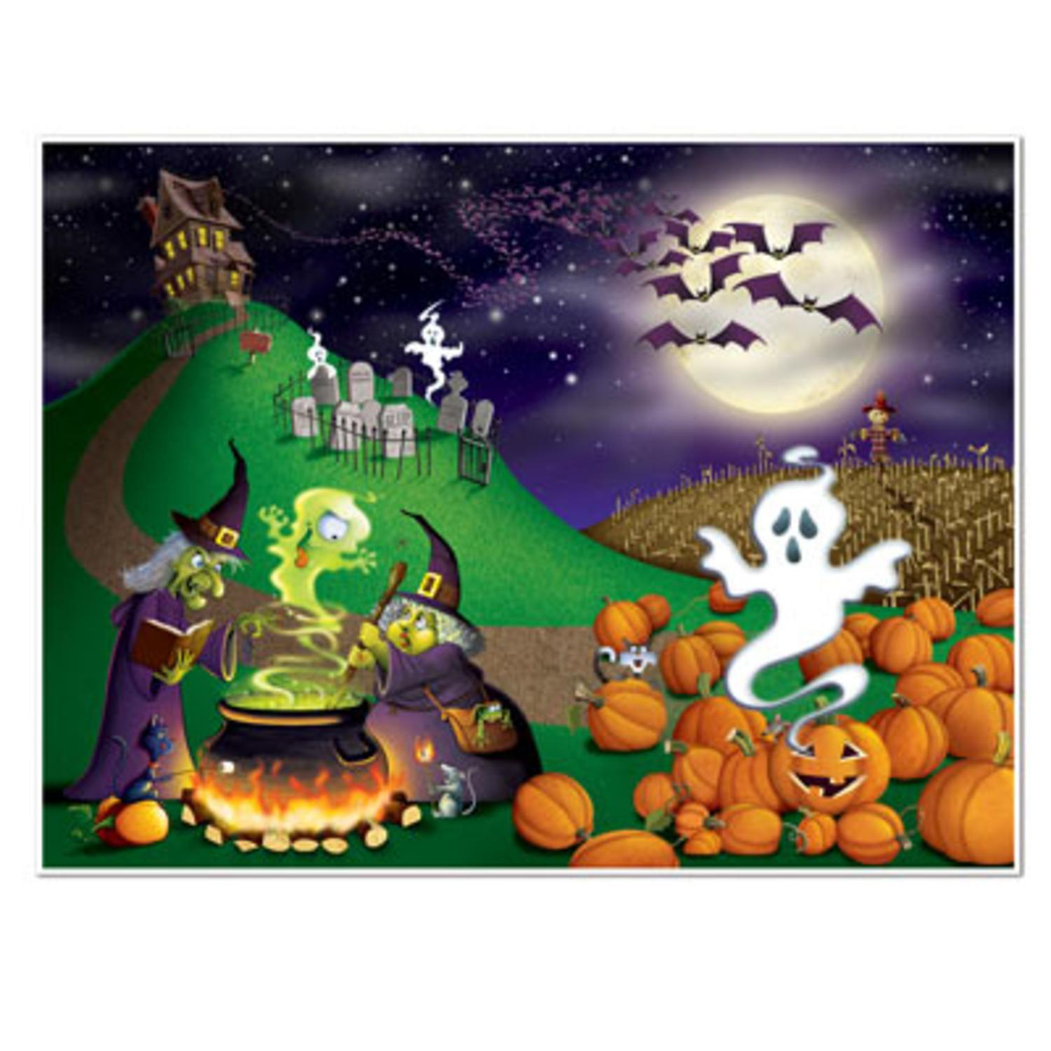 Pack of 6 Multi-Colored Halloween Scene Insta-Mural Photo...
