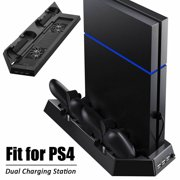 TSV Vertical Stand for PS4 /PS4 Slim /PS4 Pro with 2/3 Cooling Fan, Extra Dual Charging Station for PlayStation 4 Console Dualshock 4 Controller Accessories