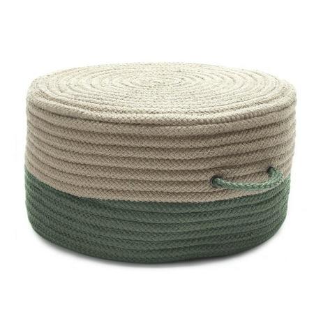 "20"" Beige and Green Handmade Round Pouf Ottoman"