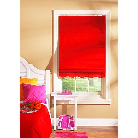 Shades My Way Fabric Window Roman Shade Red