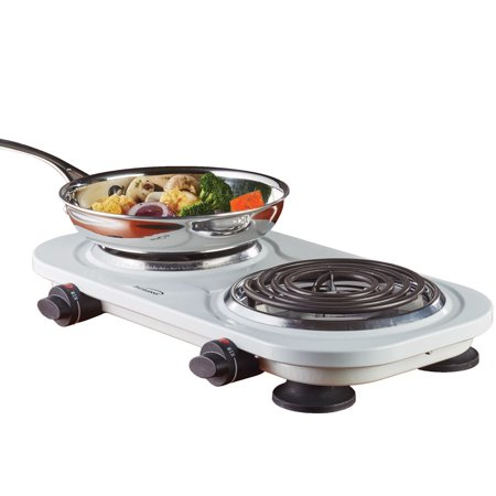 - Brentwood 1500w Double Electric Burner, White