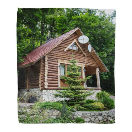 ASHLEIGH Flannel Throw Blanket Brown Cabin Chalet from Logs in The Forest Green Soft for Bed Sofa and Couch 58x80 (Log Cabin Blanket)