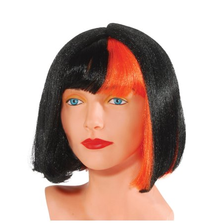 Star Power Orange Streak Short Straight Raver Bob Wig, Black, One Size (Short Black Wig With Bangs)