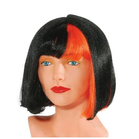 Star Power Orange Streak Short Straight Raver Bob Wig, Black, One Size](Short Black Bob Wig)