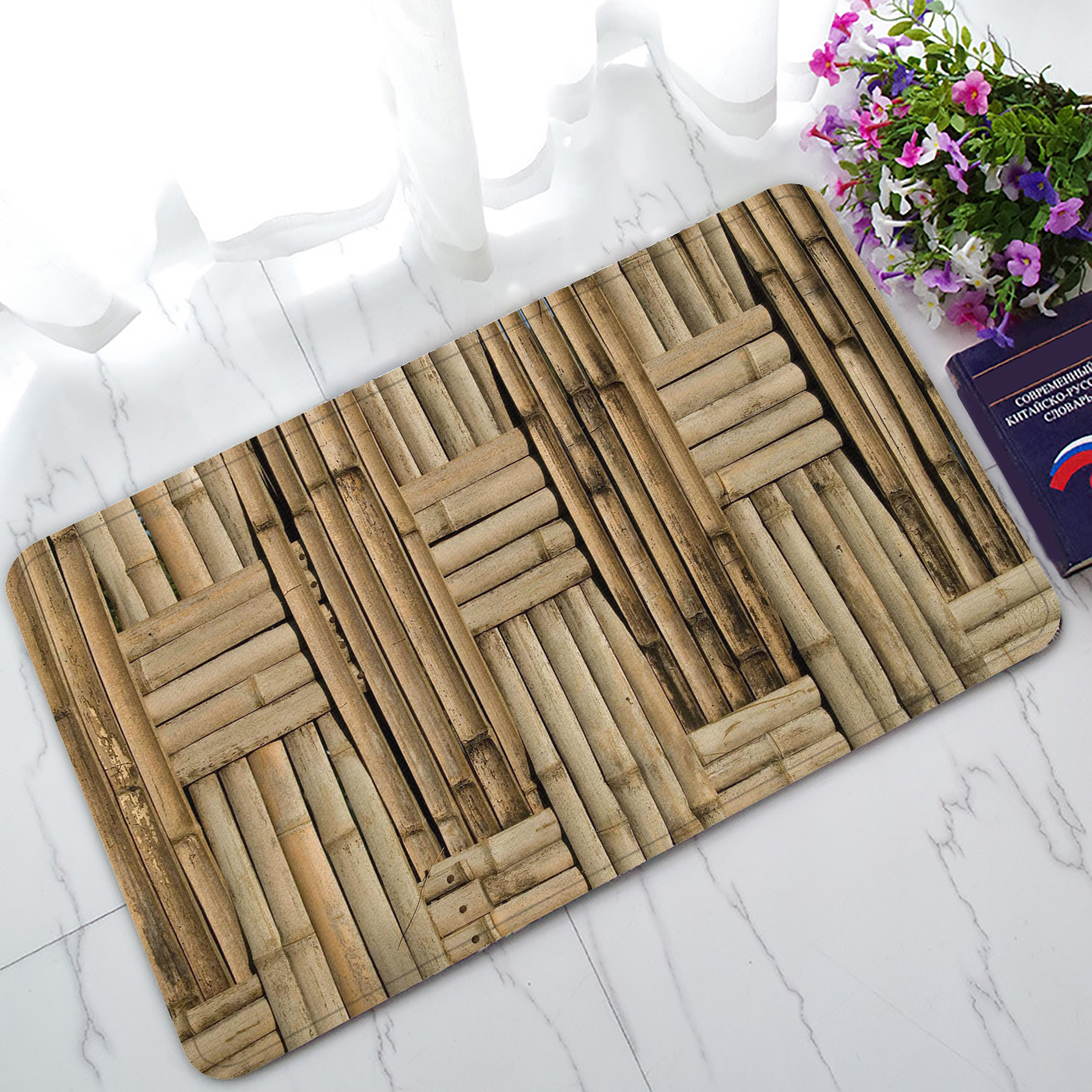 ZKGK Nature Bamboo Wall Non-Slip Doormat Indoor/Outdoor/Bathroom Doormat 30 x 18 Inches