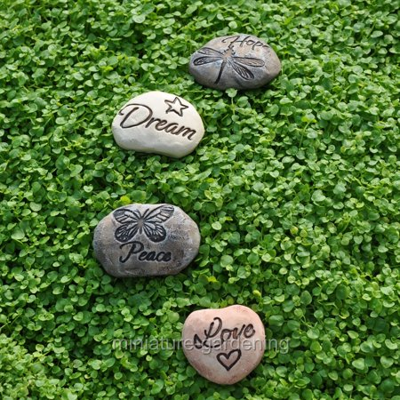 (Land and Sea Garden Stones, 4 Piece Set for Miniature Garden, Fairy Garden)