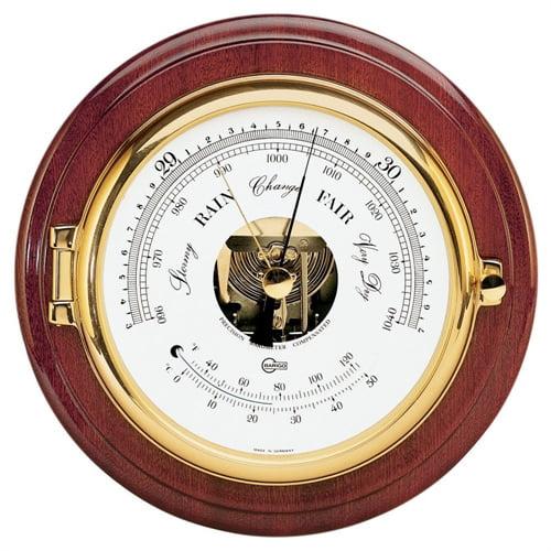 Barigo BAROMETER/THERMOMETER 6-inch DIAL BRASS & MAHOGANY 1586MS