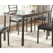 Benzara BM180192 Metal Dining Table with Brown Faux Marble Top, Black & Brown - 30 x 48 x 30 in.