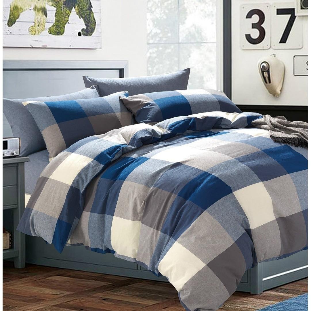 BNF Home Inc Serenta 100% Wash Cotton Plaid Windowpane Check 3 pc Duvet Cover Set