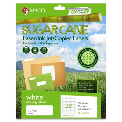 MACO Laser / Ink Jet File / Copier Sugarcane Address Labels MACMSL3025