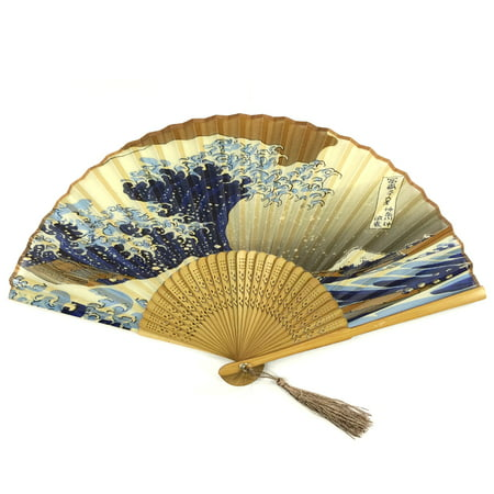 Wrapables® Silk Handheld Folding Fan with Tassel and Protective Sleeve, Hokusai's The Great - Hand Held Paper Fans