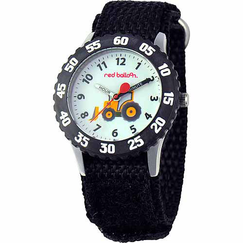 Red Balloon Construction Site Boys' Stainless Steel Watch, Black Strap