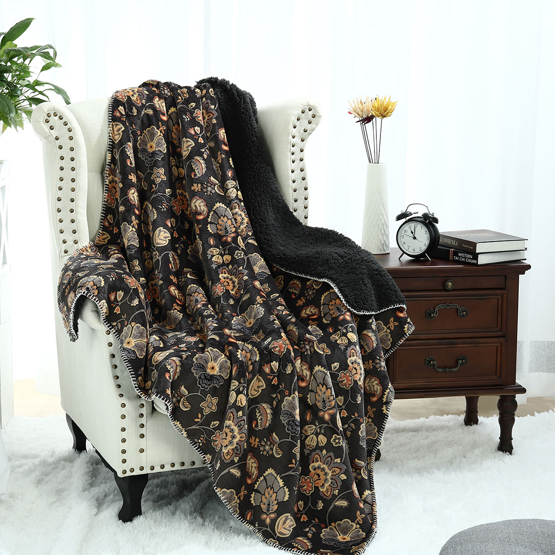 """Floral Printed Throw Blanket 50"""" x 60"""" Plush Fleece Blanket for Couch Sofa"""