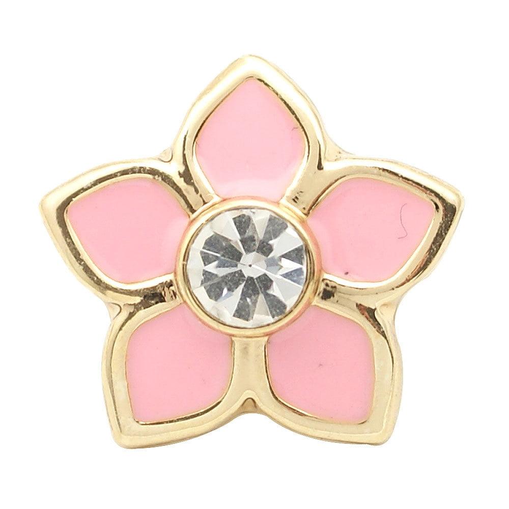 1 PC 18MM Pink Enamel Rhinestone Flower Gold Candy Snap Charm ds5170 CC1685