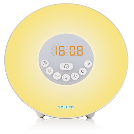 Sunrise Alarm Clock Light - Wake Up Light Alarm Clock / Digital Clock – 7 Color Light – Sunrise Simulator With Night Light – With Nature Sounds or FM Radio Alarm – USB Charger – Touch Control – For Heavy Sleepers