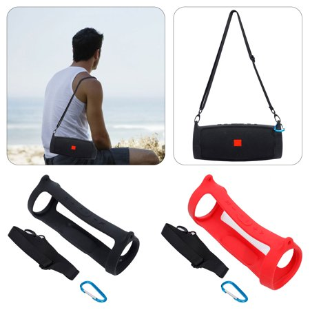 TSV Durable Silicone Carrying Case for JBL Charge 4 Bluetooth Speaker, Extra Carabiner and Shoulder Strap Offered for Easy Carrying Traveling