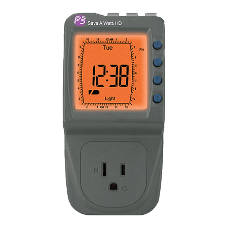 P3 International P4472 Energy Monitor/Timer, Save A Watt HD Save A Watt HD Appliance & Electronics Timer, MFG# P4472, Heavy duty programmable timer with backlit LCD display and soft power up to elimitate spikes. Multi-event 24/7 programmable timer for appliances and electronics.