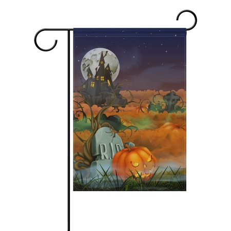 POPCreation Happy Halloween Garden Flag 12x18 Inches Moon Castle Pumpkin Decorative Yard Flag for Party Home Outdoor Decor