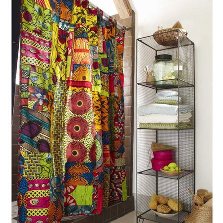 VivaTerra Fabric African Print Patchwork Shower Curtain