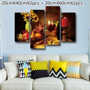 Fruits and Red Wine Canvas Painting Wall Art Picture Poster Dining Room Decor