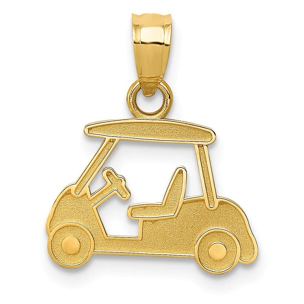 14k Yellow Gold Golf Cart Charm Pendant