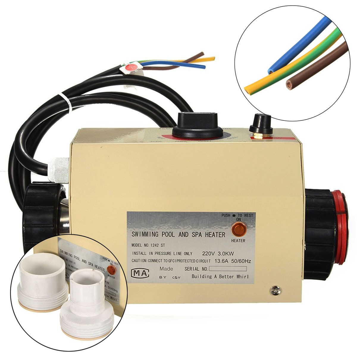 3KW 220V Home Swimming Pool & Bath SPA Hot Tub Electric Water Heater Heating Thermostat [Metric]