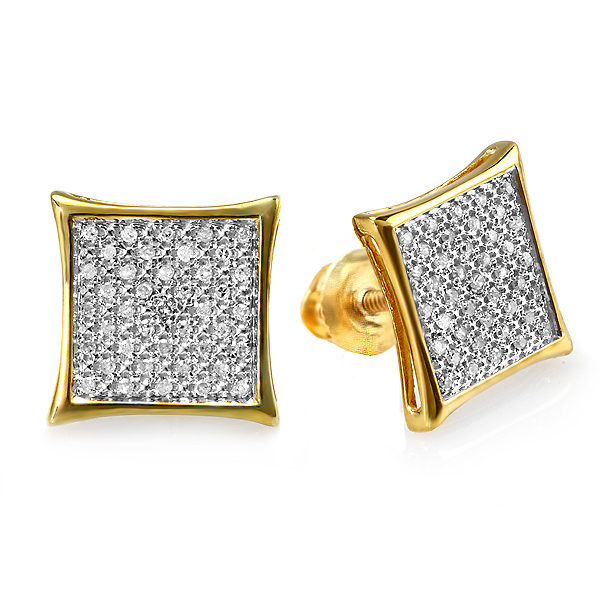 0.25 Carat (ctw) Round Diamond Two Tone Stud Kite Shaped Micro Pave Earrings 1/4 CT