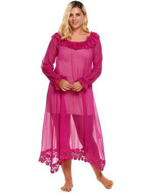 e7b775fec69 Product Image Plus Size Women R uffles Long Sleeve Lace Loose Maxi  Nightgown HFON
