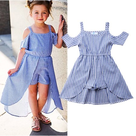 Summer Toddler Kids Girl Striped Off Shoulder Jumpsuit Swing Dress Outfits Clothes](Jumpsuit Toddler)