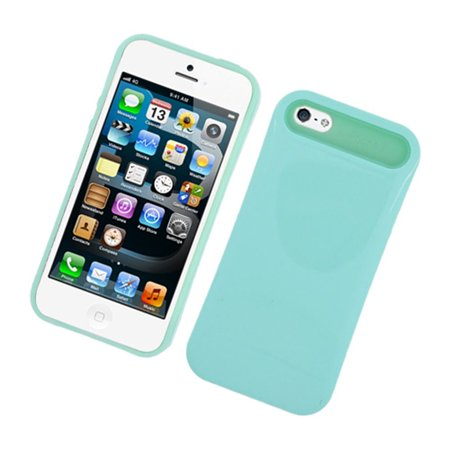 Insten Night Glow Jelly Hard Plastic/Soft Silicone Case Cover For Apple iPhone SE / iPhone 5S / iPhone 5, Mint Green