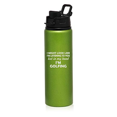 MIP Brand 25 oz Aluminum Sports Water Travel Bottle in My Head I'm Golfing Funny (Green)