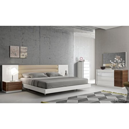 Modern White Lacquer Walnut Wood Veneer Queen Size Bedroom Set 3pcs J M Lisbon