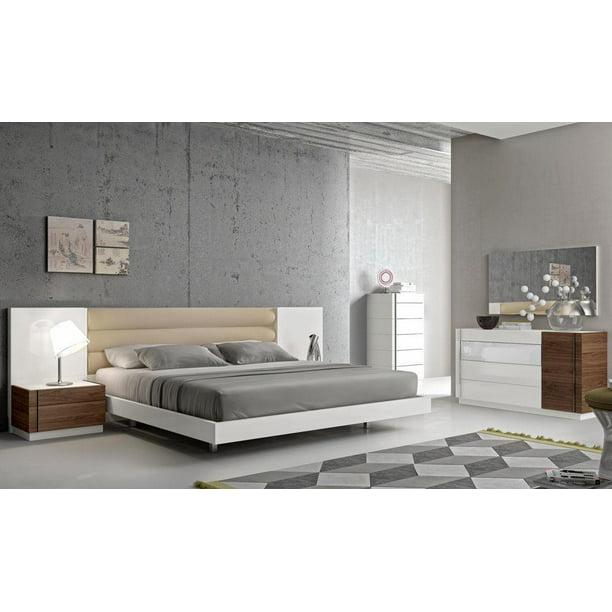 Modern White Lacquer Walnut Wood Veneer Queen Size Bedroom Set