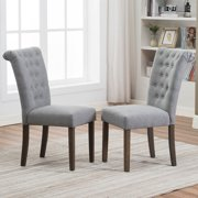 Tufted Dining Chairs Set of 2, Upholstered High Back Padded Dining Chairs w/Solid Wood Legs, Classic Fabric Beige Linen Parsons Dining Side Chair, for Home/Kitchen/Living Room/Party, Beige, S12482
