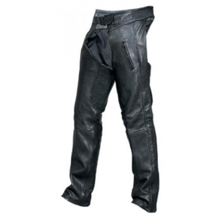 Men's Boy 2XL Size Elastic Waist Chaps Drum Dyed Naked Cowhide Leather W/ Black Hardware