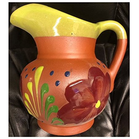 "Made in Mexico Authentic Mexican Water Carafe Drinks Jar Jarra Mexicana Espiga de Barro for Hot or Cold Beverages Drinks Natural Clay Large 6.5x6"" W/Handle Hand Made Painted Glazed Medium"