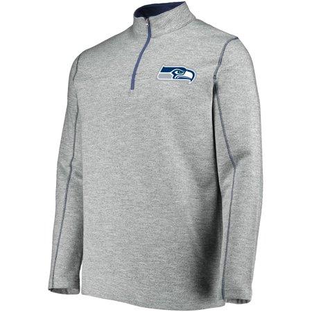 Men's Majestic Heathered Gray Seattle Seahawks Malt Quarter-Zip Pullover Jacket ()