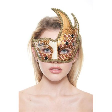 Kayso PM020 Gold Venetian Plastic Masquerade Mask with Checkered Design & Gold Contour - Extreme Contouring Halloween