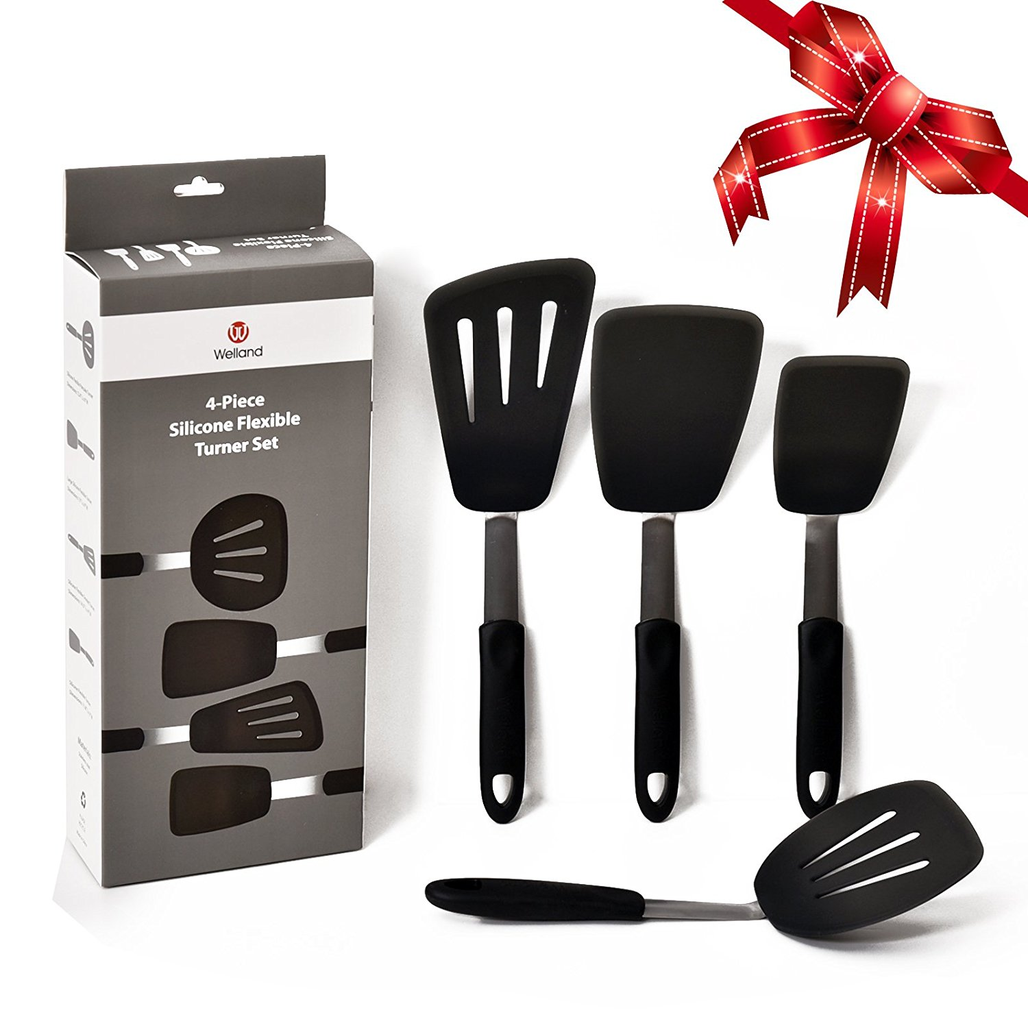 WELLAND 4-Piece High Heat Resistant Silicone & Stainless Steel Spatula Turner Set