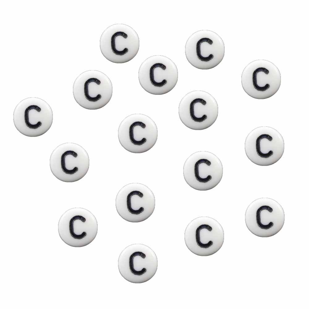 "100 White Acrylic Alphabet Letter ""C"" Coin Spacer, Loose Beads, 7x4mm Round"