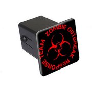 """Zombie Outbreak Response Team Red On Black 2"""" Tow Trailer Hitch Cover Plug Insert"""