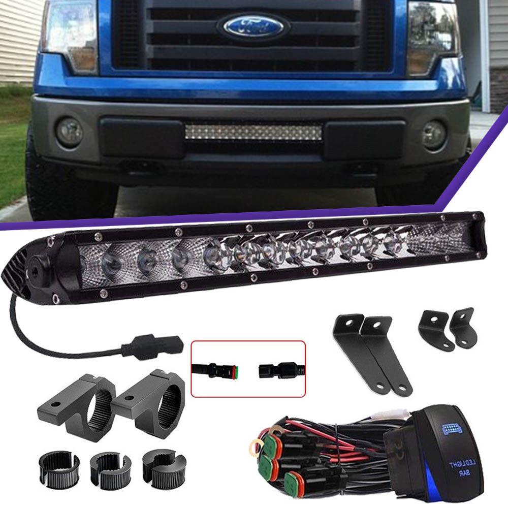 """80W 17/"""" Front Bumper LED Light Bar Rocker Wiring For GMC Sierra 1500 2500//3500HD"""