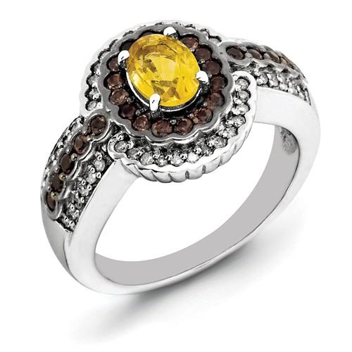 Sterling Silver Citrine & Smokey Quartz & Diamond Ring CT Wt- 1.03ct by Jewelrypot