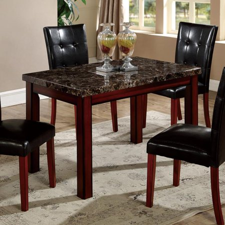 Global Furniture Faux Marble Top Dining Table In Cherry Oak