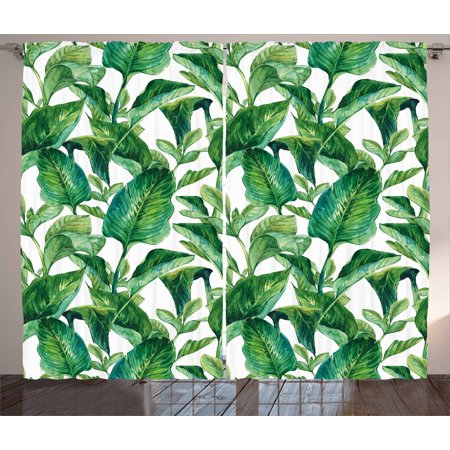 Leaf Curtains 2 Panels Set, Romantic Holiday Island Hawaiian Banana Trees Watercolored Image, Window Drapes for Living Room Bedroom, 108W X 84L Inches, Dark Green and Forest Green, by Ambesonne ()